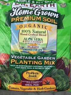 Dr. Earth Vegetable Garden Planting Mix. A nutrient-rich soil for raised beds or containers above 5 gallons. Can also be mixed into garden soil to enrich it.