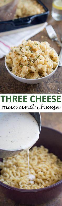 Creamy Three Cheese Mac and Cheese With Garlic Panko Breadcrumbs. A super easy 30 minute side dish!   chefsavvy.com #recipe #cheese #macaroni #brie #panko #breadcrumb