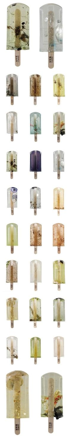The Jealous Curator /// curated contemporary art /// polluted water popsicles Modern Art, Contemporary Art, Inspiration Artistique, Bokashi, Picasso Paintings, Art Paintings, Conceptual Art, Installation Art, Art Installations