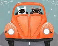 Halloween kitty road trip
