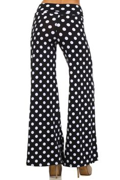 - Juniors Sizing - 95%POLYESTER 5%SPANDEX - USA. - These fun pants feature an all over print, stretch fit, wide leg silhouette, and thick waistband. - Our Mix Print High Waisted Palazzo Pants are very
