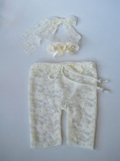 Lace Newborn Pants and Tieback Headband by LovelyBabyPhotoProps, $24.00