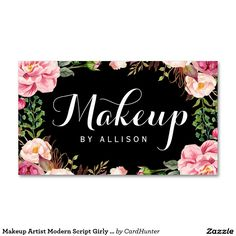 Makeup Artist Modern Script Girly Floral Wrapping Pack Of Standard Business Cards
