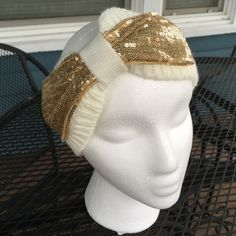 Gold Sequin Bowed Cream Knit Headband Wrap Gold Sequin Bowed Cream Knit Headband Wrap.  Ladies.  Acrylic knit fiber. New condition. Accessories Hair Accessories