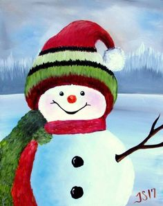 Parson Brown cute winter snowman acrylic painting on canvas.