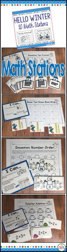 Math Centers for Kindergarten. Ten engaging hands on math stations with a winter theme. These centers cover number order, base ten, ten frames, addition, number bonds and much more.