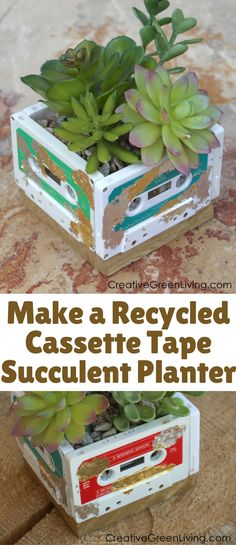 Enjoy the bright colors, the shiny metallic gold and silver, the nostalgia of the cassette tapes and the succulents! This would make a fun and creative gift for someone that grew up listening to cassettes.