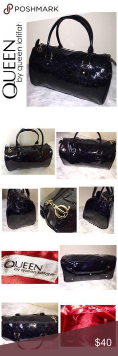 """Queen By Queen Latifah Signature Handbag Queen By Queen Latifah Signature Collection Handbag, Gorgeous Black Vinyl Material Embossed in QL Emblem with Gold Hardware, Exquisite Red Nylon Material, Zip Top Closure, 1 Zip Interior Pocket, Approx. Size is 14""""x 9""""x 6 3/4"""",  NWOT! Queen Latifah Bags"""