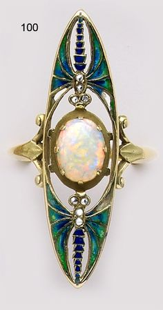 Opal, diamond, enamel and gold butterfly ring.