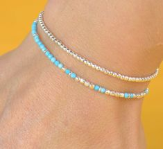 Tiny turquoise and sterling silver beads bracelet by Zzaval