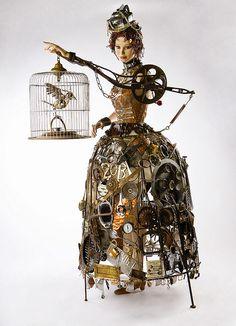 9 Art Therapy Techniques To De-Stress In 2015 - Steampunk 1 - Kunst Found Object Art, Found Art, Art Sculpture, Metal Sculptures, Mixed Media Sculpture, Sculpture Ideas, Abstract Sculpture, Bronze Sculpture, Recycled Art