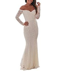 7053eba8a521a Lalagen Women s Floral Lace Long Sleeve Off Shoulder Wedding Mermaid Dress  White1 XL Wedding Dress Organza