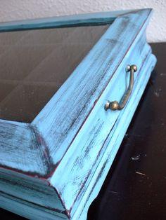 Hand Painted Grayish Blue Glass top Flat Wooden by miloblukiki
