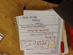Low-tech genre flip book using LLI Red and Fountas & Pinnell's Prompting Guide 2 most common genres and definitions.