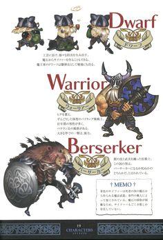 Odin Sphere Artworks Book - Page 19 - Characters - Dwarf, Warrior & Berserker