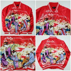 Vintage Japanese Japan Eddie Odyssey Kyoto Geisha Maiko Ukiyoe Oiran Shunga Cherry Blossoms Ukiyo-e Sakura Flowers Floral Flower Tattoo Art Embroidery Embroidered Bomber Sukajan Souvenir Jacket (SIZE: M ) - Japan Lover Me Store