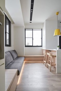 Japanese interior design small spaces - Small Interiors Made Airy With White And Yellow Decor And Space Saving Solutions – Japanese interior design small spaces Small Bathroom Interior, Small Apartment Interior, Apartment Design, Apartment Ideas, Japanese Interior Design, Home Interior Design, Small Apartments, Small Spaces, Small Small