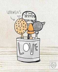 He encontrado este interesante anuncio de Etsy en https://www.etsy.com/es/listing/97559326/love-and-utensils-in-the-kitchen-series