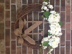 Hydrangea & apple blossom monogram wreath