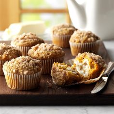 Pumpkin-Apple Muffins with Streusel Topping Recipe -My mother always made these tasty muffins whenever our family got together at her house. Now they're a family favorite at my house, and my in-laws love them, too! —Carolyn Riley, Carlisle, Pennsylvania