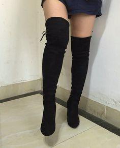Women Stretch Suede Slim Thigh High Sexy boots
