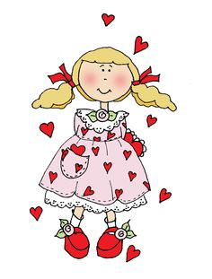 Free Dearie Dolls Digi Stamps: Valentine and Hearts