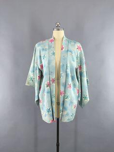 Vintage 1940s - 1950s Haori Kimono Cardigan Jacket / Aqua Blue & Pink Stars