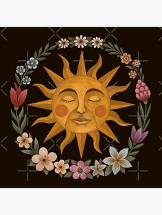 Canvas Art, Canvas Prints, Art Prints, Sun Drawing, Sun Illustration, Sun Painting, Sun Art, Art Inspo, Flower Art