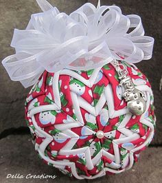 Quilted Ornament w/Charm  3  Snowman Fabric by DellaCreations, $15.95