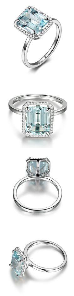 Gemstone 177020: 8X10mm Emerald Cut Aquamarine Engagement Diamonds Halo Ring 14K White Gold 6# BUY IT NOW ONLY: $829.0