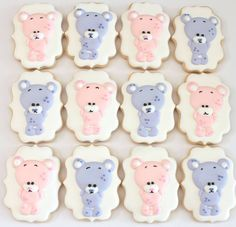 Teddy bear cookies by Miss Biscuit Decorating Supplies, Cookie Decorating, Teddy Bear Cookies, Cute Cookies, Royal Icing Cookies, Biscotti, Tutorials, Cakes, Inspiration