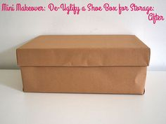 Mini Makeover: De-Uglify a Shoe Box for Storage | Style for a Happy Home