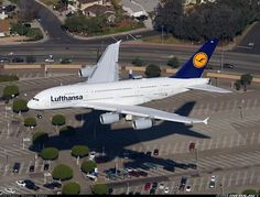 A Lufthansa Airbus A380 landing at LAX Airport in Los Angeles, California