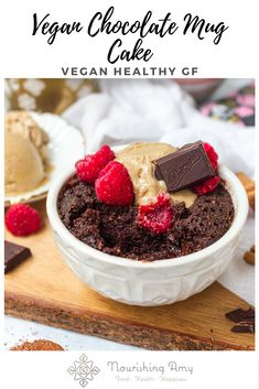 Vegan Chocolate Mug Cake - A rich and fudgy chocolate mug cake that comes together in less than 3 minutes. This indulgent treat is vegan, gluten-free, refined-sugar-free and packed with chocolate. Chocolate Mug Cakes, Chocolate Protein, Gluten Free Chocolate, Chocolate Desserts, Healthy Chocolate, Vegan Desserts, Vegan Recipes, Vegan Mug Cakes, Cake Vegan