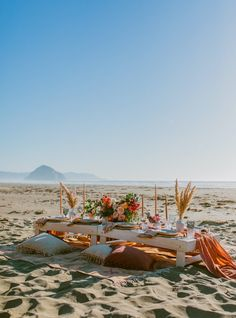 A Modern, Boho Micro-Wedding & Picnic Reception on the beach in Morro Bay, California. Designed & Styled by Santa Barbara Picnic Co. Romantic Picnics, Romantic Beach, Beach Picnic, Summer Picnic, Picnic Time, Picnic Parties, Vacations To Go, Beach Elopement, Beach Aesthetic
