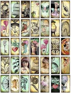 WHiMSiCaL 1 x 2 inch vintage designs DIGITAL CoLLaGe SHeeT Domino Size pendants altered art supplies sh32 .