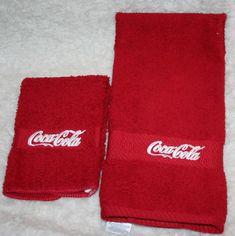 """Coca Cola"" 1 Red Hand towel & 1 cloth w/white thread embroidered creation 2014 Coca Cola Christmas, Retro Christmas, Coca Cola Decor, Coca Cola Kitchen, Always Coca Cola, Coca Cola Bottles, Pepsi, Hand Towels, Vintage Coke"