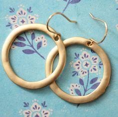 Matt 22K Gold Plated Hoop Earrings by NestPrettyThingsShop