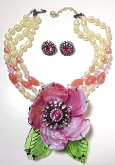 VRBA GLASS SCULPTURE FLOWER NECKLACE EARRINGS PIN