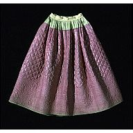 """Petticoat, quilted pink worsted  1750-1775  Origin: America, New England (probably)  OL; below waistband: 35 1/2""""; circumference of skirt: 103""""  Pink tabby worsted, backed with blue and yellow tabby wool; wool batting; wool quilting thread.  Museum Purchase    Acc. No. 1951-471"""