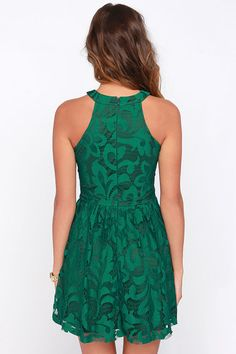 In Full Plume Green Lace Dress at Lulus.com!