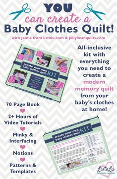 DIY baby clothes quilt kit with videos teaching you exactly how to make a baby clothes quilt! Such a cute idea! Pin to save for when I sort through my baby clothes! Diy Baby Clothes Quilt, Cute Baby Clothes, Sewing Clothes, Diy Clothes, Baby Outfits, Dress Outfits, Baby Memory Quilt, Memory Quilts, Baby Quilts