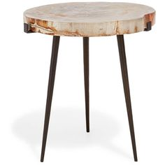 The Antique Express Medium Petrified Side Table ($895) ❤ liked on Polyvore featuring home, furniture, tables, accent tables, end table, patina furniture, antique table, antique accent table, antique end tables and antique furniture