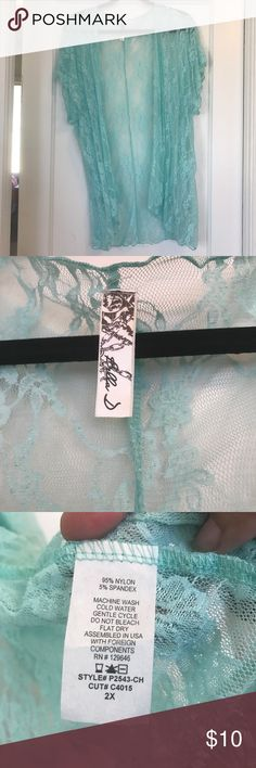EUC - KIMONO COVER UP Worn once, perfect condition, nice Tiffany blue in color, perfect for spring and summer coming up! ☺ Dress it up or down, it'll complete your outfit! Tops Blouses