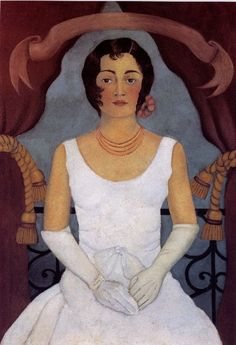 'Portrait of a Woman in White' - 1930 - by Frida Kahlo (Mexican, 1907-1954) - Oil on canvas - 119x81cm. - Private Collection, Berlin, Germany