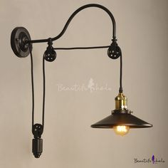 Farmhouse 1 Light Adjustable Wall Light with Metal Shade - Beautifulhalo.com