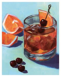 Old Fashioned Drink, Old Fashioned Cocktail, Bad Fan Art, Wine Painting, Food Art Painting, Night Bar, Cocktails, Pop Art Illustration, Bourbon Drinks