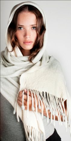 Pearl grey pashmina shawl wool felt with fringes and by texturable, $70.00