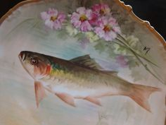 "ANTIQUE LIMOGES FLAMBEAU HAND PAINTED SIGNED ""RENE"" PLATE, FISH & FLOWERS, 10"""