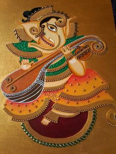 Lord Ganesha Paintings, Ganesha Art, Krishna Painting, Krishna Art, Kerala Mural Painting, Indian Art Paintings, Kalamkari Painting, Madhubani Painting, Madhubani Art